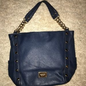 Michael Kors Navy and Gold handbag